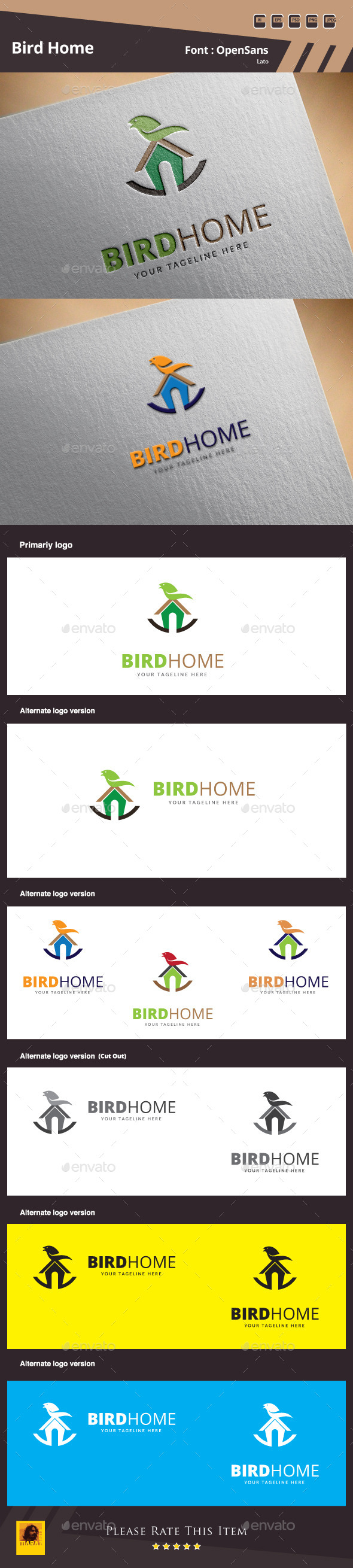 Bird Home Logo Template - Animals Logo Templates