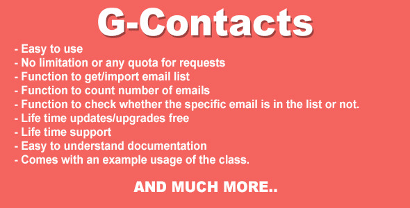 G-Contacts - Gmail Contact Importer PHP Class - CodeCanyon Item for Sale