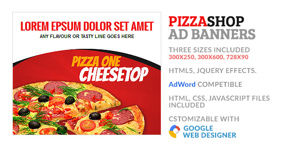 Pizza Fastfood Store GWD HTML5 Ad Banner - CodeCanyon Item for Sale