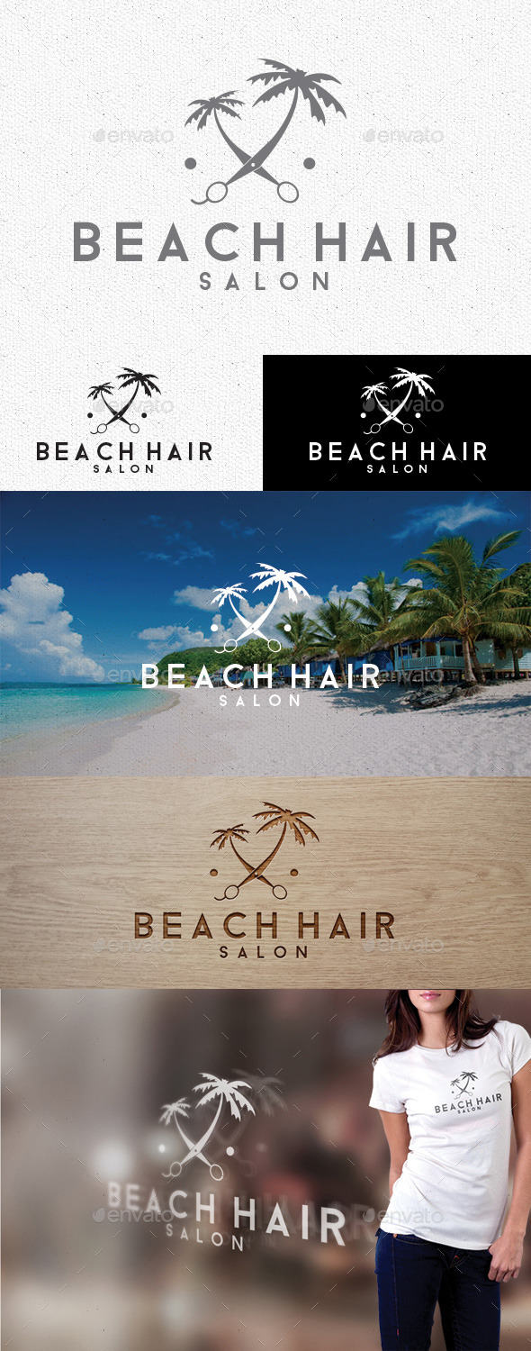Beach Hair Logo - Vector Abstract