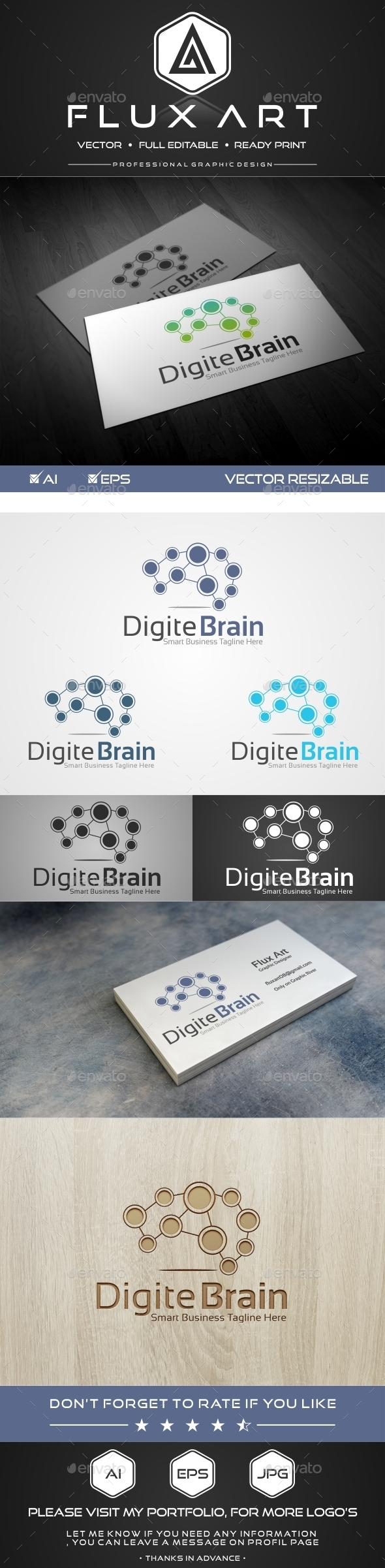 Digital Brain Logo - Symbols Logo Templates