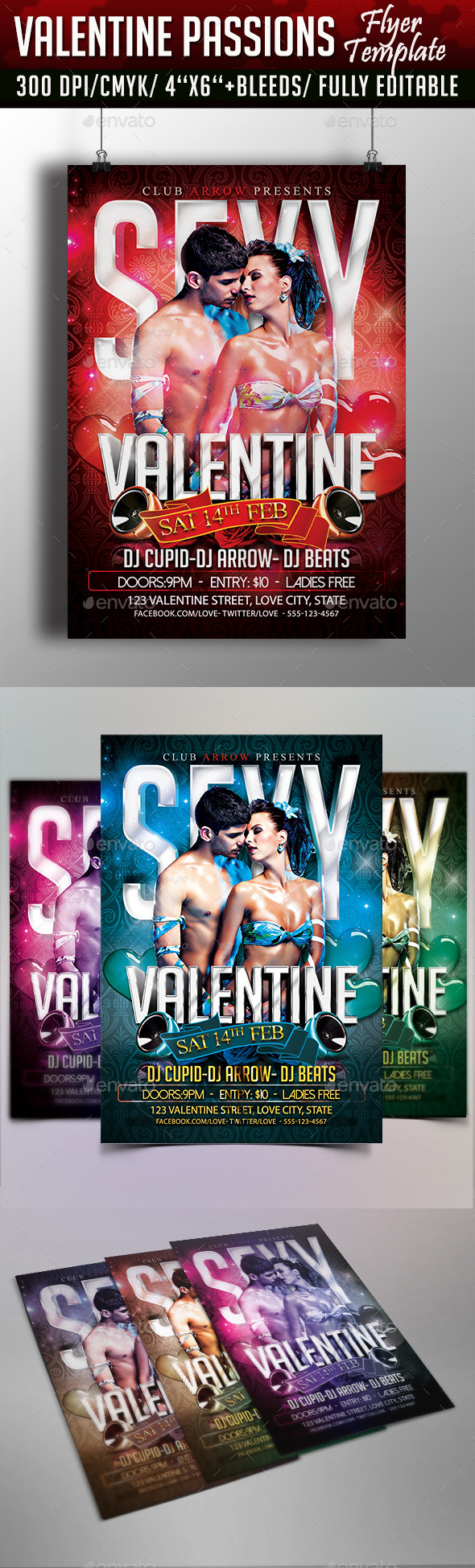 Valentine Passions Flyer Template - Flyers Print Templates