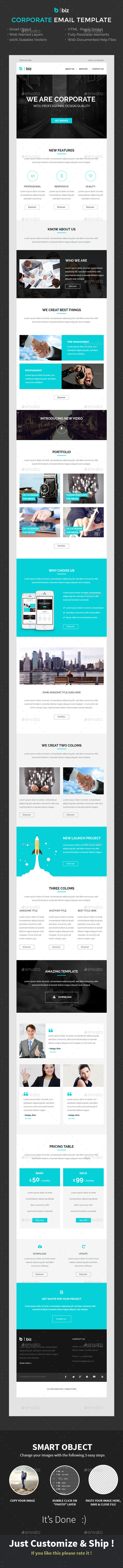 biz - Corporate e-Mail Template PSD - E-newsletters Web Elements