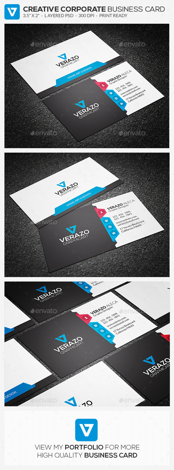 Clean & Creative Corporate Business Card 69 - Corporate Business Cards