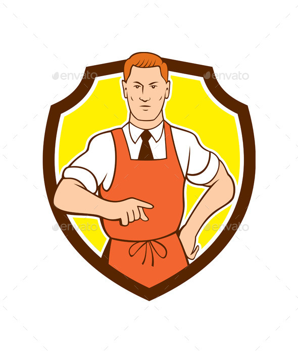 Cook Chef Pointing Shield Cartoon - People Characters