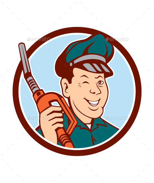 Gas Attendant Nozzle Winking Circle Cartoon - People Characters