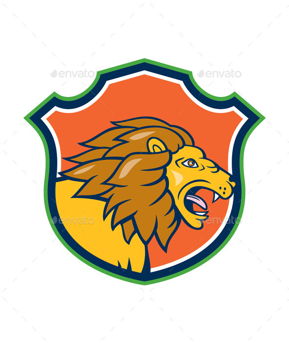 Angry Lion Head Roar Shield Cartoon - Animals Characters