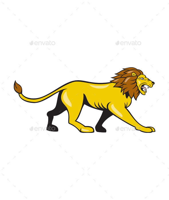 Angry Lion Walking Roar Cartoon - Animals Characters