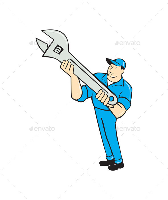 Mechanic Presenting Spanner Wrench Cartoon - People Characters