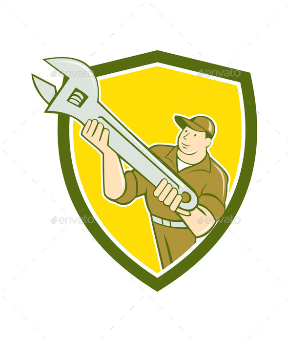 Mechanic Presenting Spanner Wrench Shield Cartoon - People Characters