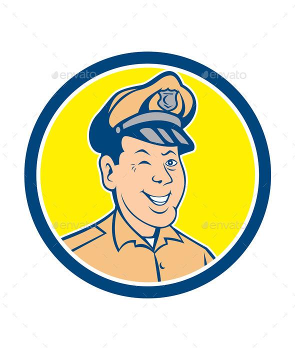 Policeman Winking Smiling Circle Cartoon - People Characters