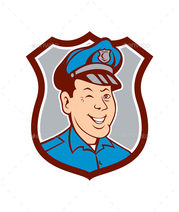 Policeman Winking and Smiling Shield Cartoon - People Characters