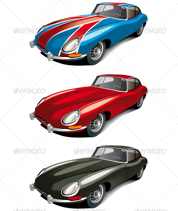Retro english sport cars set   - Retro Technology