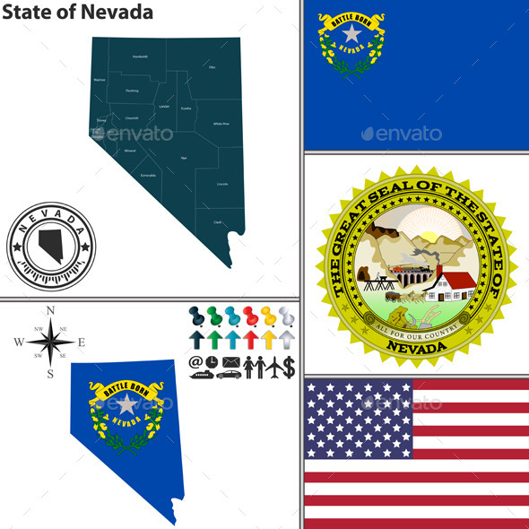 Map of State Nevada, USA - Travel Conceptual