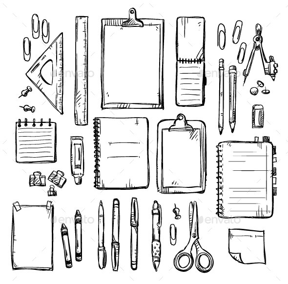Set of Stationery Drawings - Man-made Objects Objects
