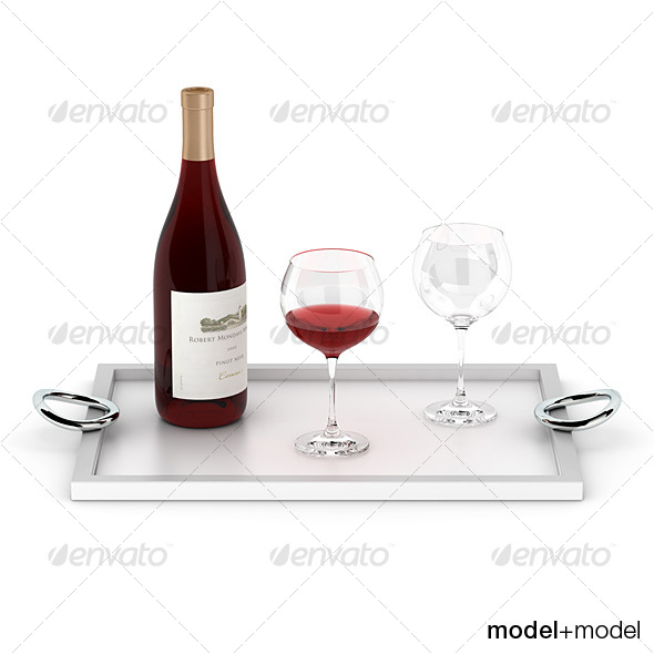 Wine set on the Christofle Vertigo tray - 3DOcean Item for Sale