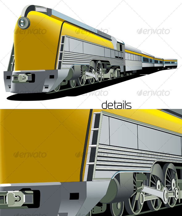 Yellow old-fashioned train - Retro Technology
