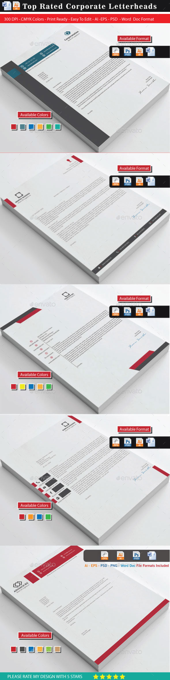 94 Top Rated Corporate Letterhead Bundle 1 - Stationery Print Templates
