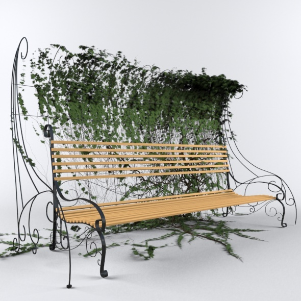 Bench with Hedgegrow - 3DOcean Item for Sale