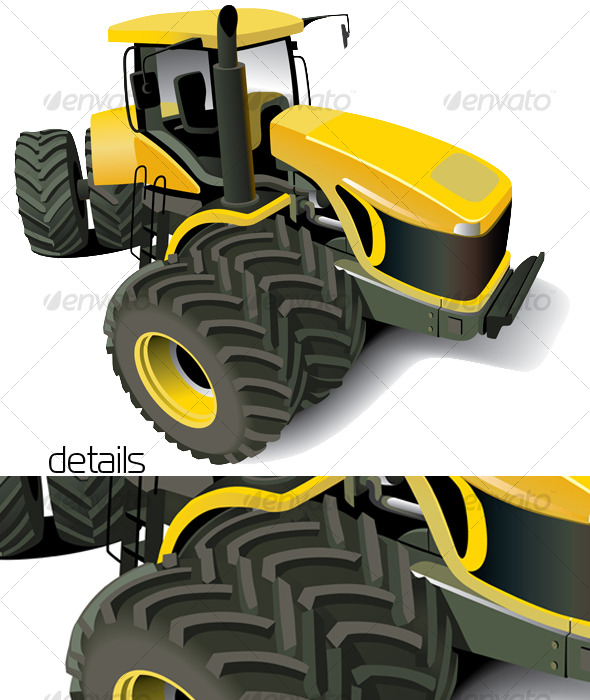 Yellow Modern Tractor - Industries Business