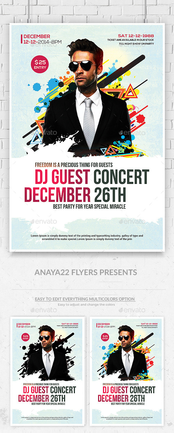 Electro House Music DJ Flyer Template - Clubs & Parties Events