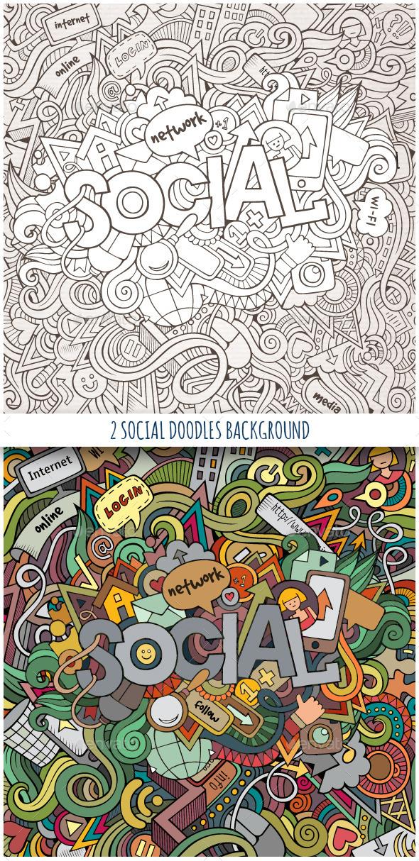 2 Social Doodles Background - Technology Conceptual