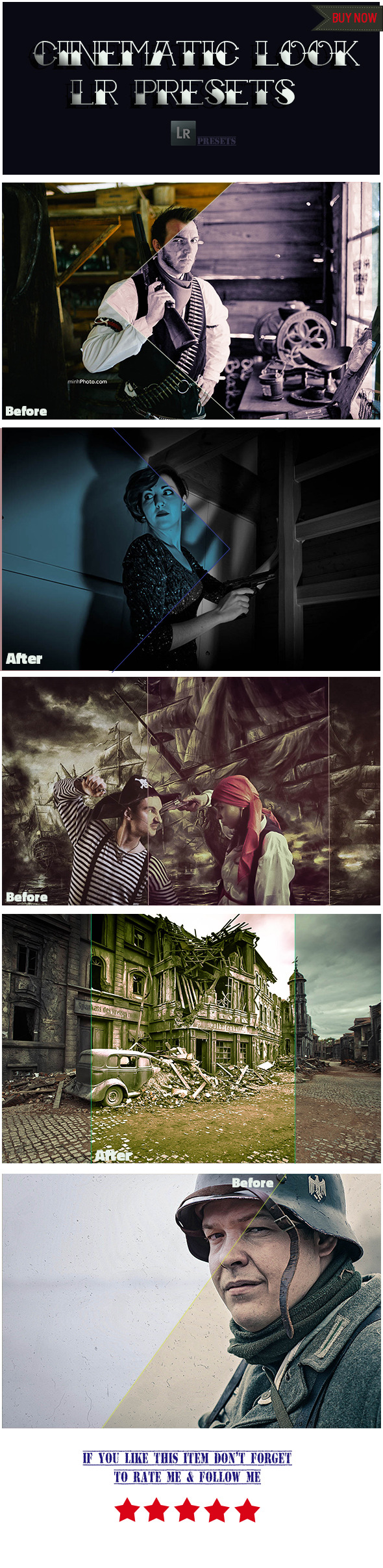 5 Cinematic Look Presets - Photo Effects Actions