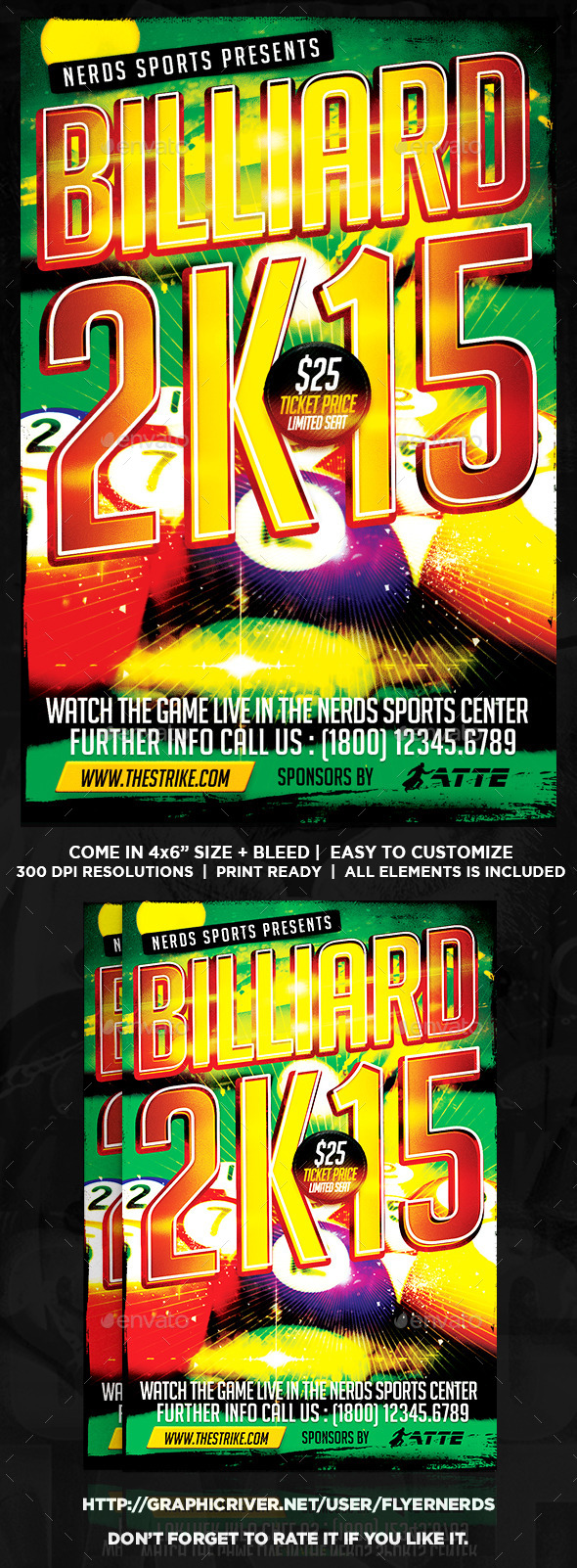 Billiard 2K15 Sports Flyer - Sports Events