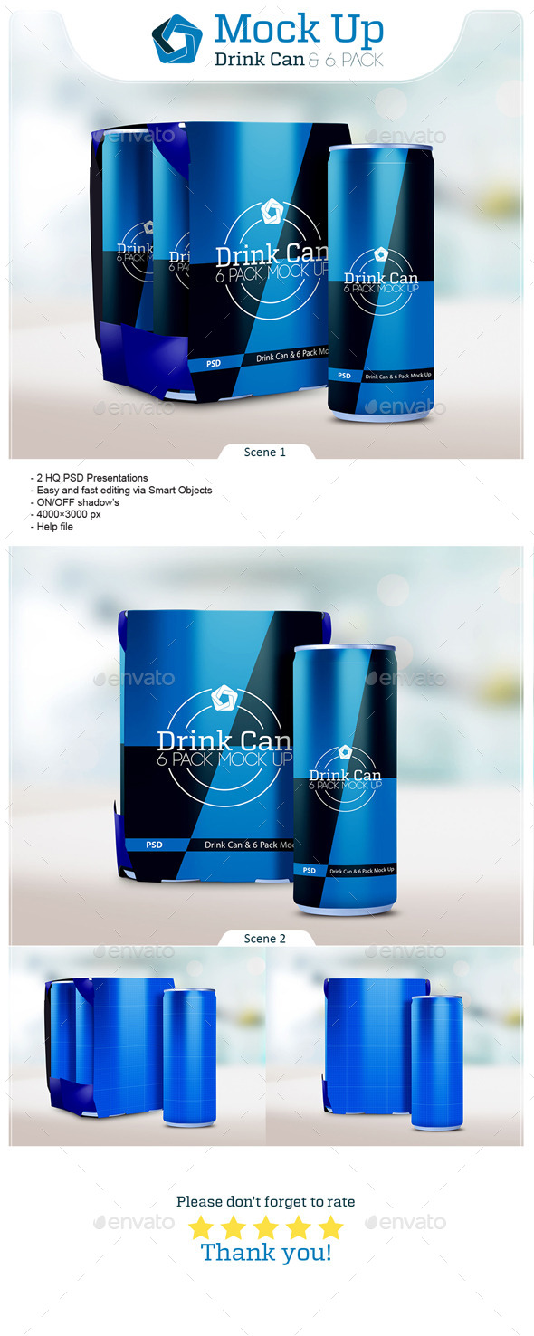 Drink Can & 6 Pack Mock up - Food and Drink Packaging