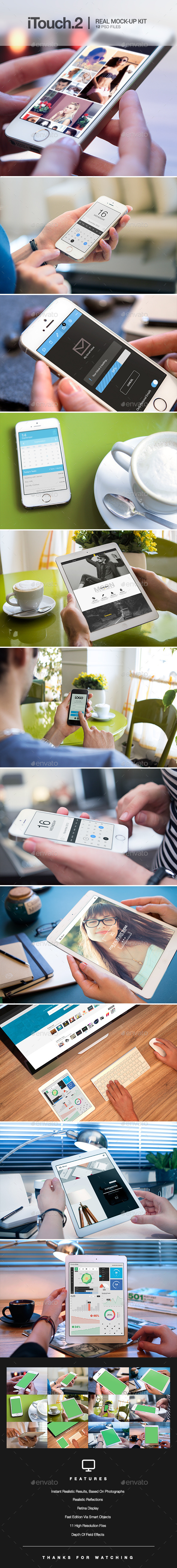 iTouch 2 - 12 Photorealistic MockUp - Mobile Displays
