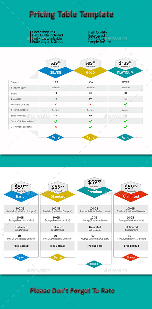 Pricing Table Template  - Tables Web Elements