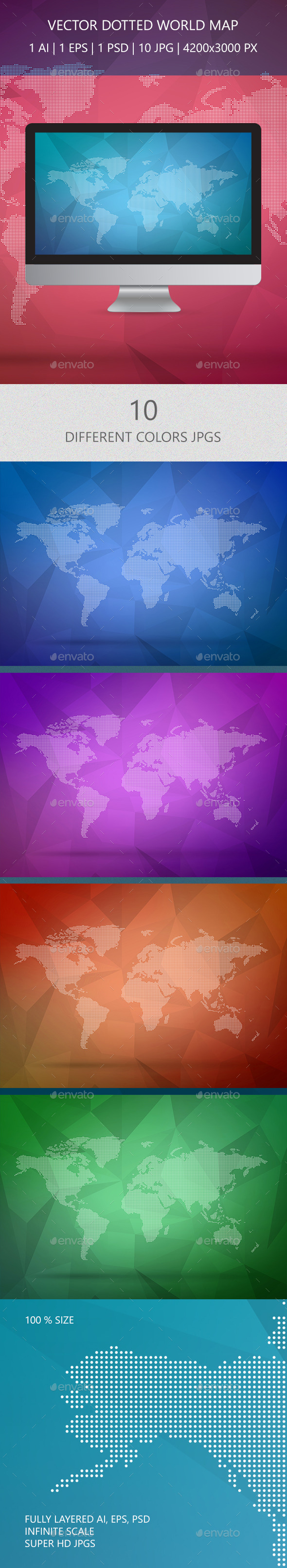 Dotted Wold Map Vector - Tech / Futuristic Backgrounds