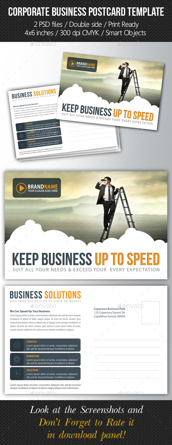 Corporate Business Postcard Template V07 - Cards & Invites Print Templates