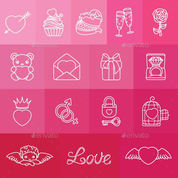 Set of Romantic Symbols for Valentin's Day - Valentines Seasons/Holidays