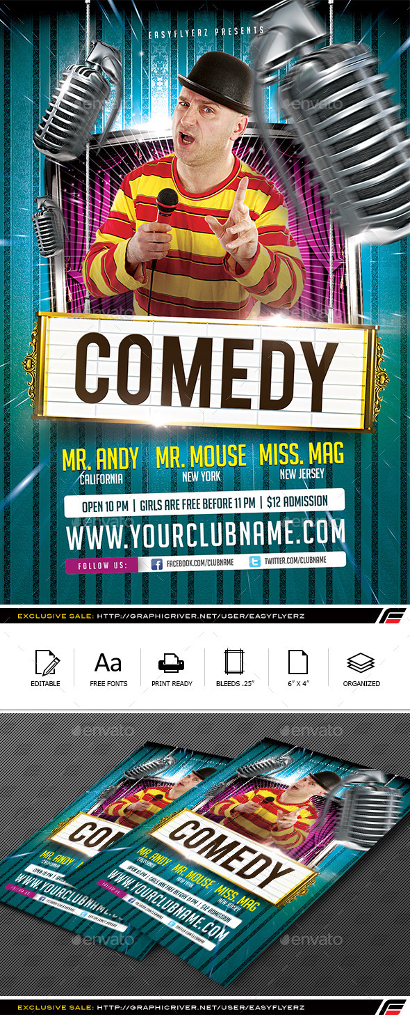 Stand Up Comedy Flyer Template by Easyflyerz | GraphicRiver