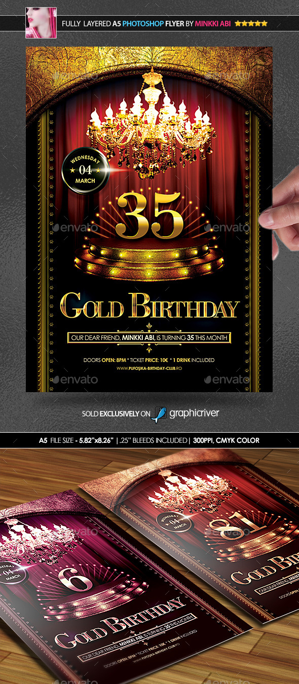 Gold Birthday Poster/Flyer - Flyers Print Templates