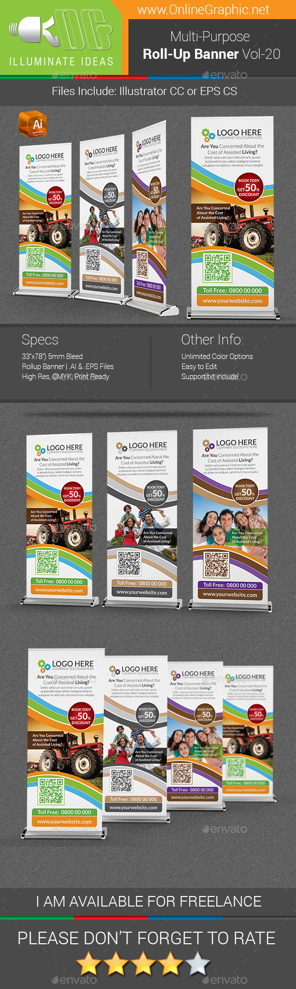 Multipurpose Business Roll-Up Banner Vol-20 - Signage Print Templates