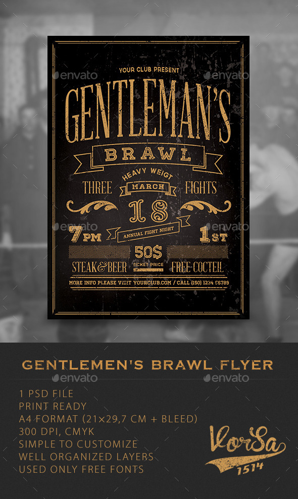 Gentlemen's Brawl Flyer  - Clubs & Parties Events