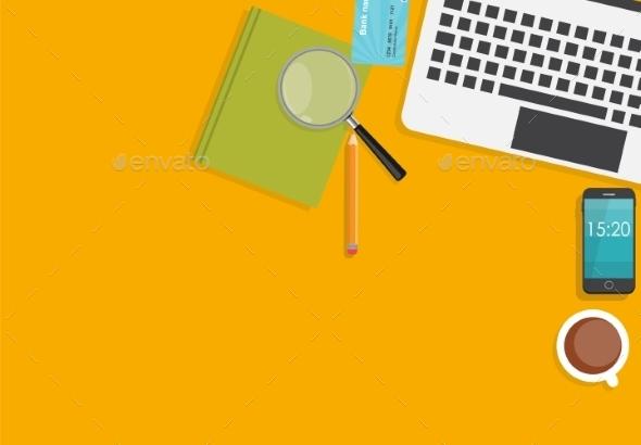 Working Place Modern Office Interior Flat Design - Web Technology