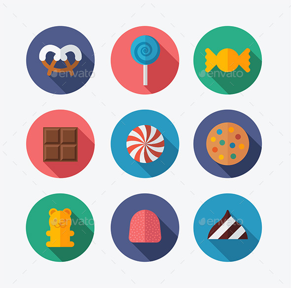 Candy Flat Icons - Food Objects