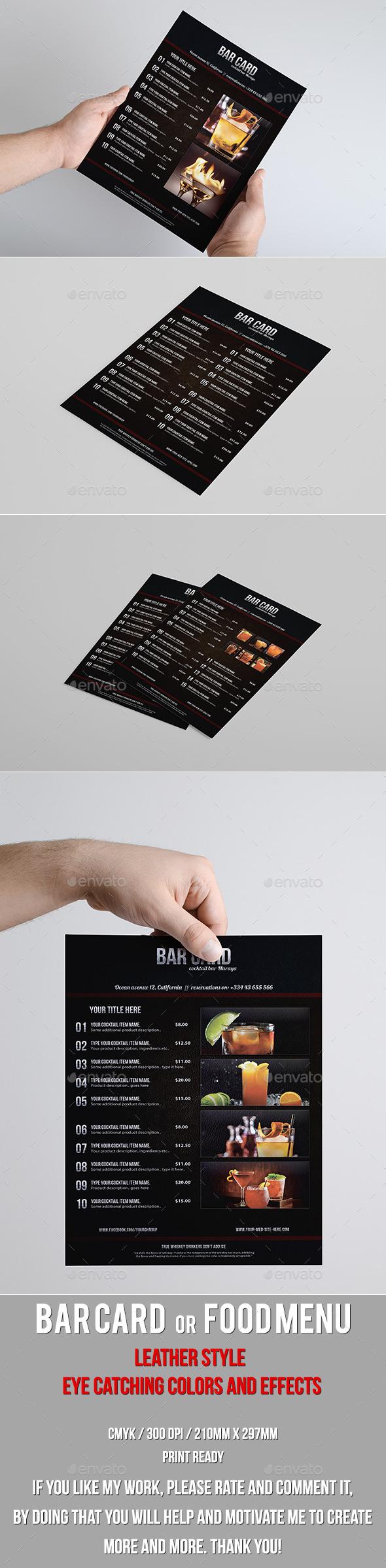 Leather Style Bar Card or Food Menu - Food Menus Print Templates