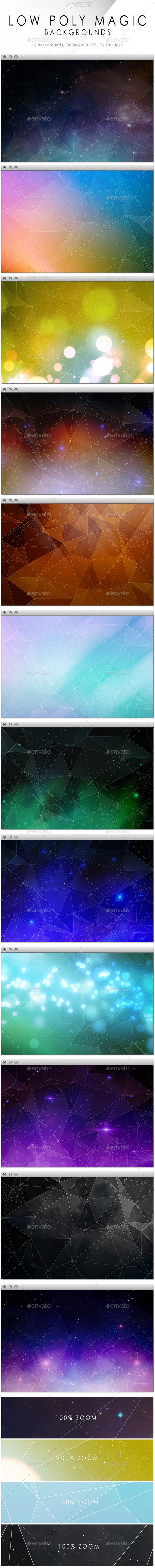 Low Poly Magic Backgrounds Collection - Abstract Backgrounds