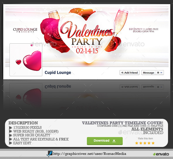 Valentines Love Party Facebook Timeline Cover  - Facebook Timeline Covers Social Media