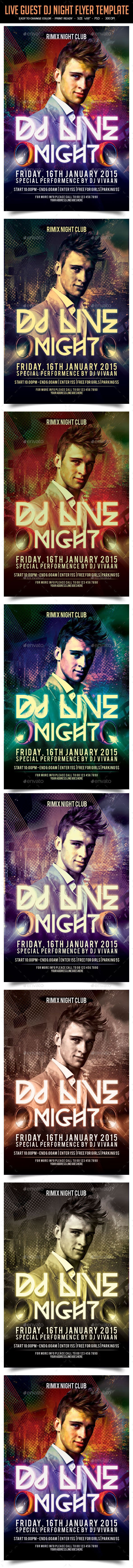 Live Dj Night Party Flyer Template - Clubs & Parties Events