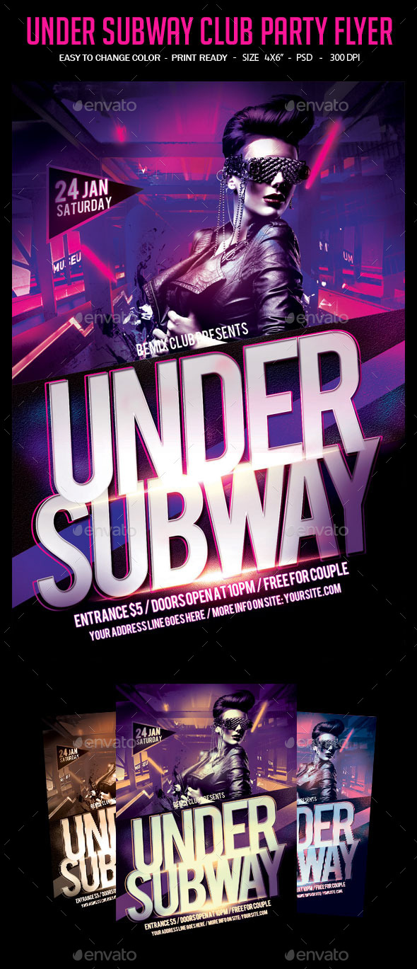 Under Subway Party Flyer - Clubs & Parties Events
