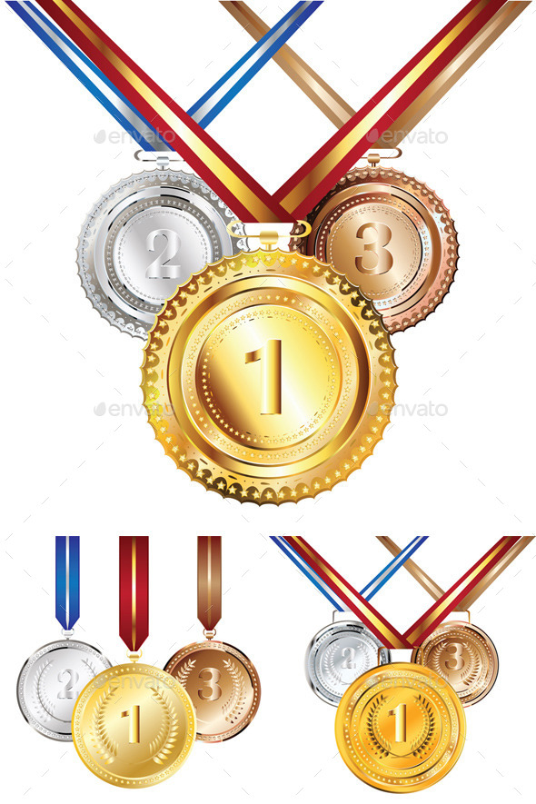 Golden Silver and Bronze Medal - Sports/Activity Conceptual