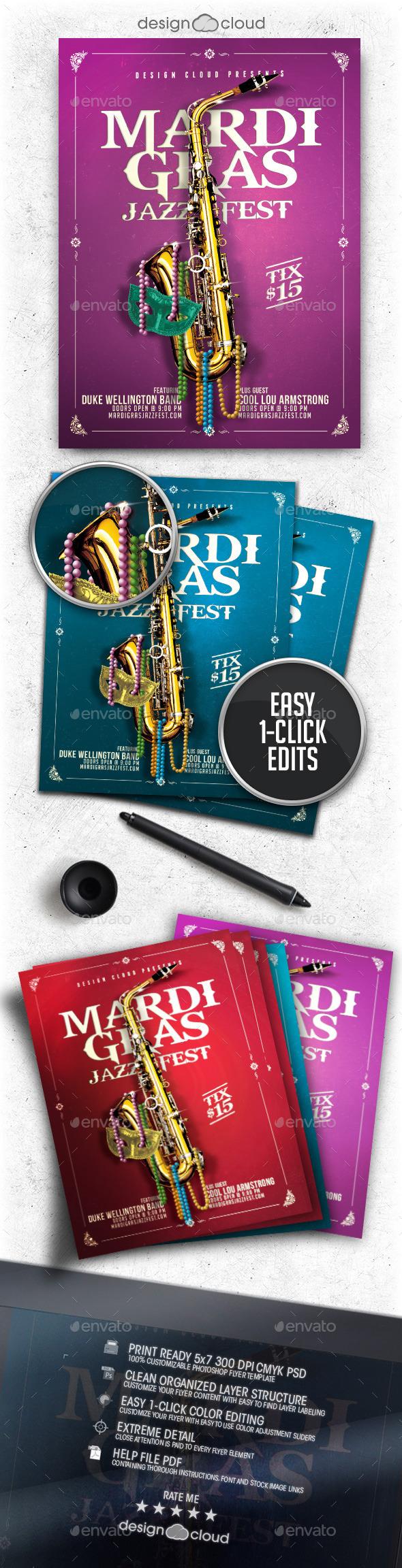 Mardi Gras Jazz Fest Flyer Template - Holidays Events