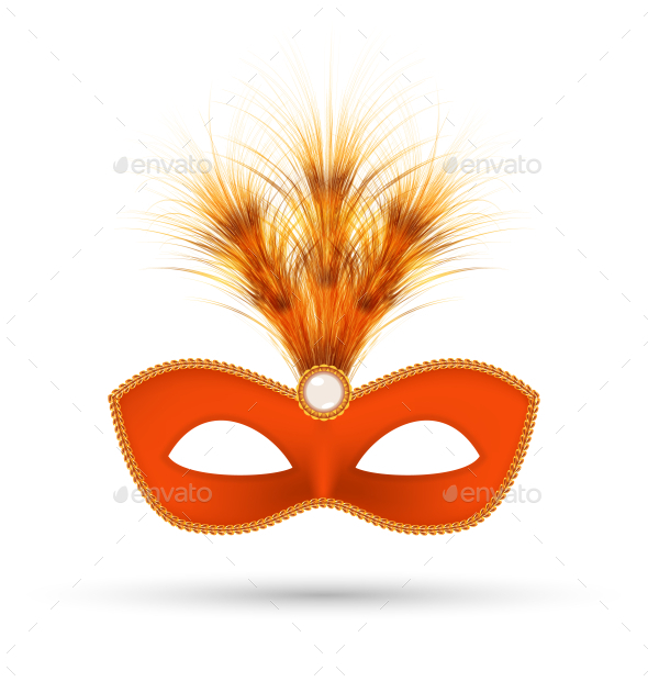 Orange Carnival Mask with Fluffy Feathers - Man-made Objects Objects