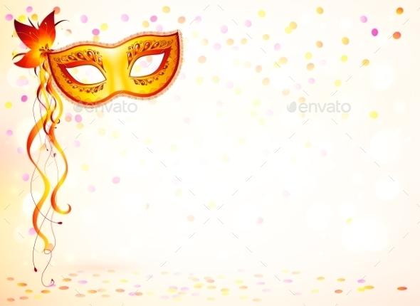 Orange Carnival Mask - Christmas Seasons/Holidays