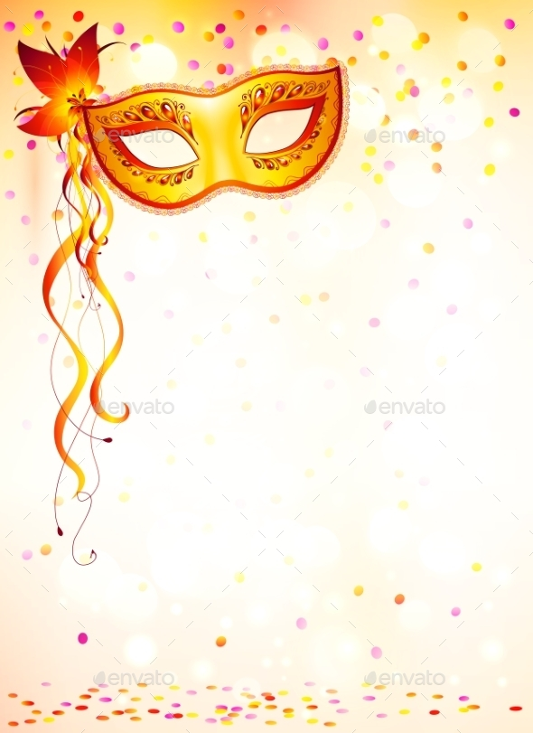 Orange Carnival Mask - Miscellaneous Vectors